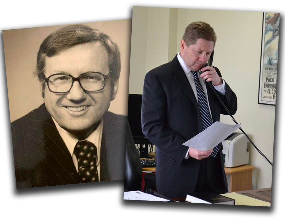 Left, Firm Founder, the late Walter C. Foulke Jr., Esq. and his son, highly successful accident lawyer Evan M. Foulke, Esq.