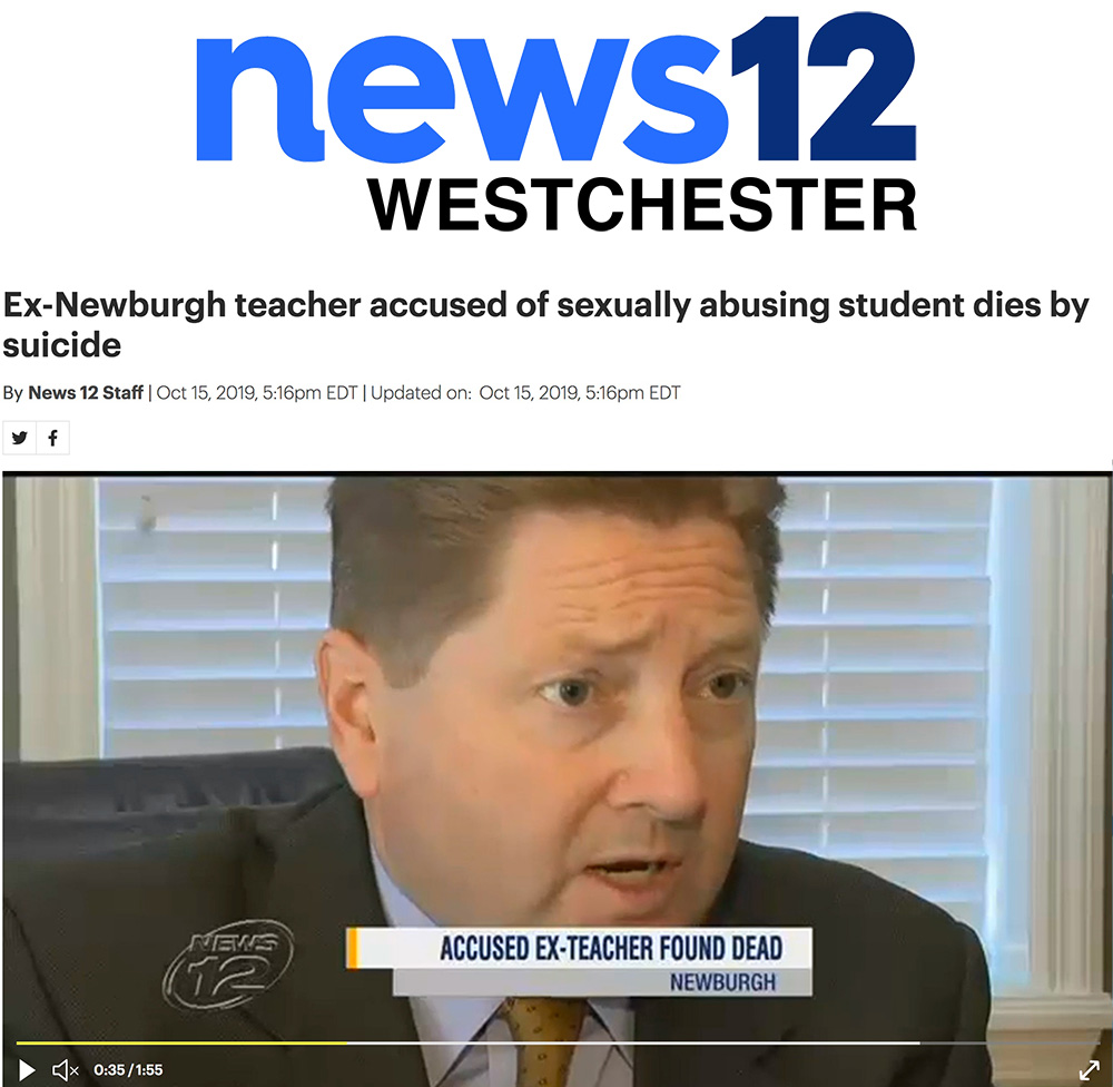 NEWS 12 WESTCHESTER TV Video Showcasing Comments by Attorney Evan Foulke about the child sexual abuse lawsuit against Sherman Memmelaar, former physical education teacher in Orange County NY which appears to have provoked his suicide and cowardly admission of guilt
